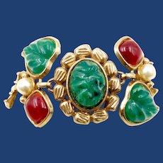 Vintage Chunky Green Glass Leaves Bracelet