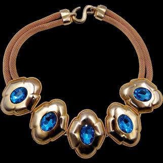 Vintage Chunky 1980s Clara Blue Rhinestone Necklace