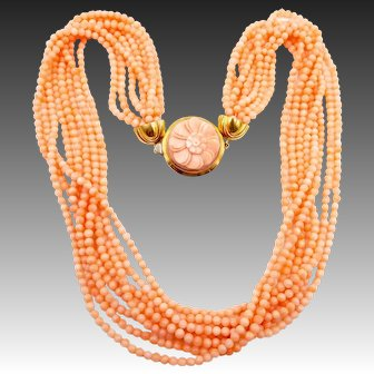 Vintage Italian Salmon Angel Skin Coral Multi Strand Necklace 18K Clasp