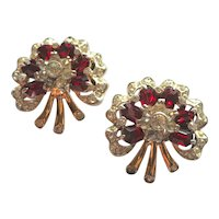 1948 Coro Sterling Floral Red Rhinestone Fur Clips Duette