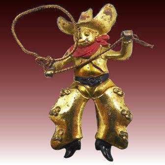 Vintage Cowboy Figural Brooch
