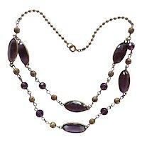 Czech faux amethyst glass necklace