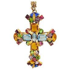 Vintage Bohemian Czech Rhinestone Cross Pendant Necklace