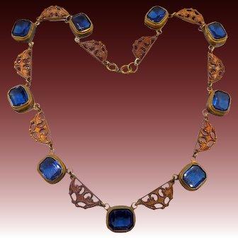 Vintage Czech Deco Blue Glass Brass Necklace