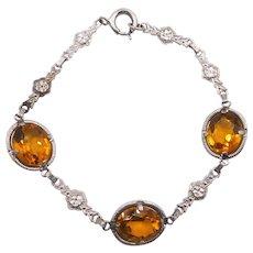 Vintage Art Deco Faux Citrine Crystal Chromium Bracelet