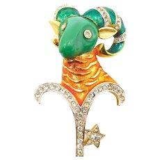 Vintage DeNicola Aries Ram Zodiac Brooch