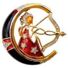 DeNicola Sagittarius Zodiac Enamel Lucite Rhinestone Brooch