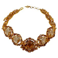 Vintage Christian Dior Topaz Rhinestone Choker Necklace Made in France