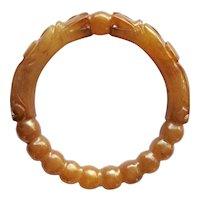 Vintage Chinese Carved Brown Jade Dragons and Pearl Bracelet