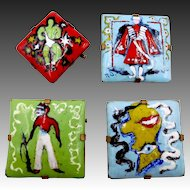 Rare Vintage Pierre Durantet French Enamel Brooches 1945