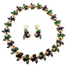 D'Orlan Green Blue Enamel Fish Necklace Earrings Set