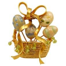 Vintage Easter Egg Basket Brooch