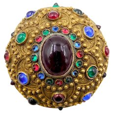 Etruscan Revival Glass Cabochon Ornate Brooch 1900s