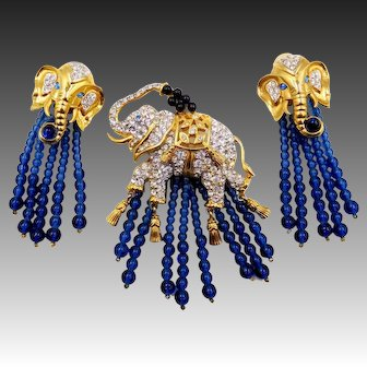 Vintage E. Taylor for Avon Elephant Walk Rhinestone Brooch and Earrings