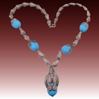 Vintage Fishel Nessler Co Deco Snake Turquoise Glass Necklace