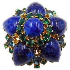 Vintage Domed Faux Lapis Cabochons Emerald Green Rhinestones Brooch