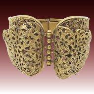 Vintage Chunky Filigree Clamper Bracelet Gold Tone