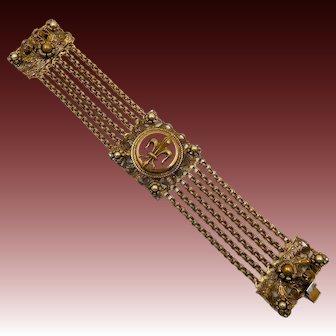 Vintage Ornate Fleur de Lis Bracelet France