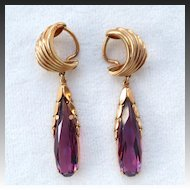 French Rolled Gold Plated Faux Purple Amethyst Dangle Clip Earrings
