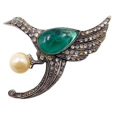 Art Deco French Sterling Paste Bird Flawed Emerald Glass Belly Brooch