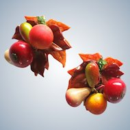 Large Faux Fruit and Leaves Clip Earrings