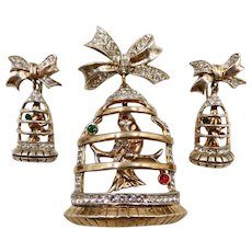 Frank Gargano Sterling Vermeil Bird in Birdcage Brooch Earrings 1947