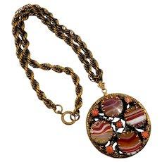 Vintage Germany Striped Agate Idar-Oberstein Pendant Necklace