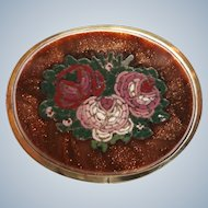 Victorian Floral Mosaic in Goldstone Brooch