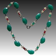 Art Deco Green and Carnelian Glass Rhinestone Necklace