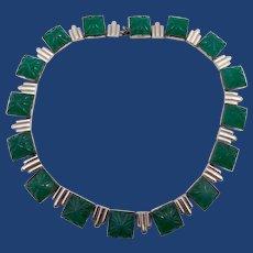 Vintage Art Deco Green Glass or Chrysoprase Choker Necklace