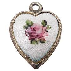 1940s Sterling Guilloche Enamel Rose Puffy Heart Charm