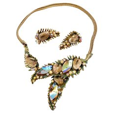 Vintage HAR Green Enamel Dragon Tooth Necklace and Earrings