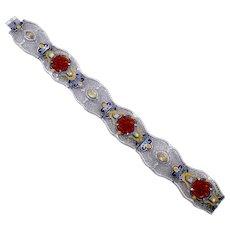 Vintage Art Deco JJ White Helgen Mfg. Co. Enamel Pressed Glass Rhinestone Bracelet