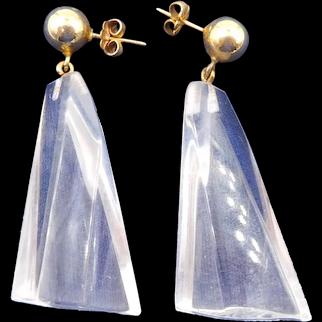 Vintage Judith Hendler Clear Acrylic Dangle Earrings
