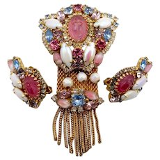 Vintage Hobe Pink Glass Scarab Rhinestone Brooch Earrings Set