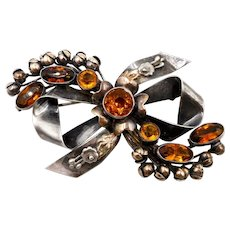 Vintage Hobe Sterling 14K Topaz Glass Stones Ribbon Bow Brooch