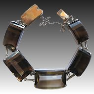 Vintage Japan Sterling Silver Fancy Cut Smoky Quartz Bracelet