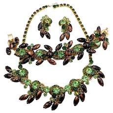 Vintage Juliana Black Copper Fluss Green Rhinestone Parure Necklace Bracelet Earrings Book Piece