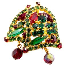RARE Vintage Juliana D&E Rhinestone Christmas Bells Brooch Pin