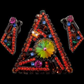 Juliana D&E Neon Geometric Rhinestone Triangle Brooch Earrings Set