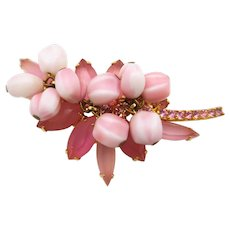Vintage Juliana D&E Frosted Pink Rhinestone Nugget Brooch