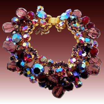 Vintage D&E Juliana AB Red Amethyst Purple Rhinestone Bracelet with Crystals