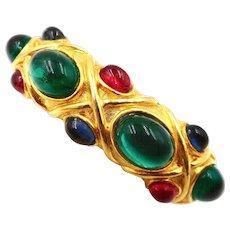 Vintage KJL Mogul Green Red Blue Cabochons Clamper Bracelet