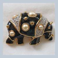 Vintage KJL Kenneth Jay Lane black enamel, rhinestone, and faux pearl rhino brooch