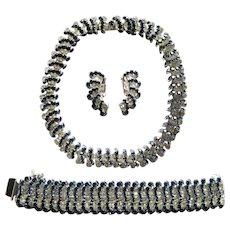 Vintage Kramer Blue Clear Rhinestone Necklace Bracelet Earrings Set