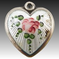 "1940s Lampl Sterling Guilloche Enamel Rose Puffy Heart Charm ""Beulah"""