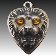 Vintage 1940s Sterling Lion Head Puffy Heart Charm