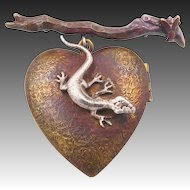 Vintage Heart Locket Brooch with Lizard