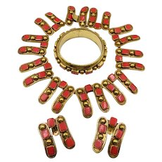 Vintage Luisa Conti Italy Brass Coral Parure