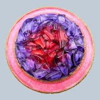 Vintage Les Bernard Purple Red Glass Nuggets Brooch with Pink Enamel
